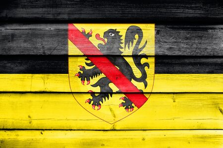 Flag of Namur with Coat of Arms, Wallonia Region, Belgium, painted on old wood plank background