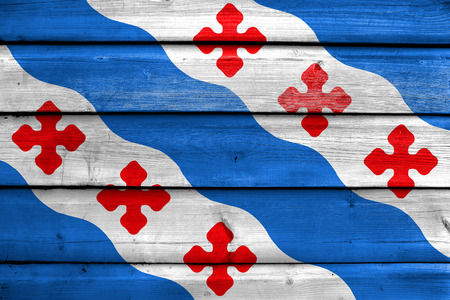 Flag of Rockville, Maryland, USA, painted on old wood plank background