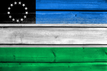 Flag of Rio Negro Province, Argentina, painted on old wood plank background