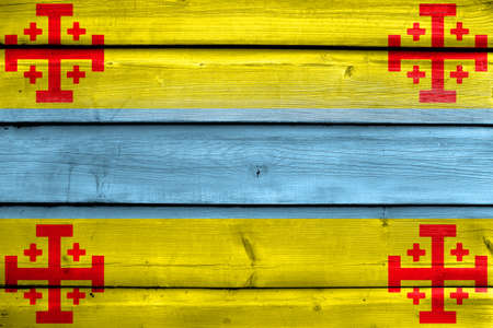 Flag of Popayan, Colombia, painted on old wood plank background