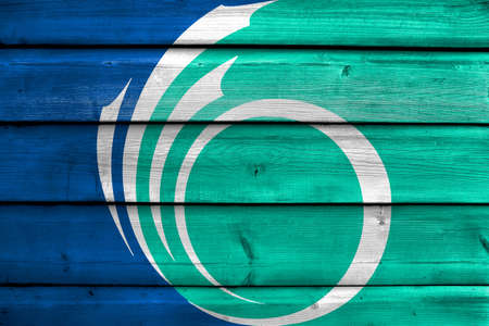 Flag of Ottawa, Ontario, Canada, painted on old wood plank background