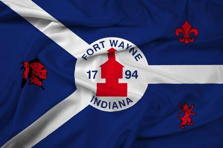 Waving Flag of Fort Wayne, Indiana, USA