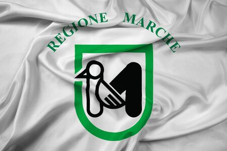 Waving Flag of Marche Region, Italy