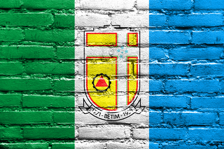 Flag of Betim, Minas Gerais State, Brazil, painted on brick wall