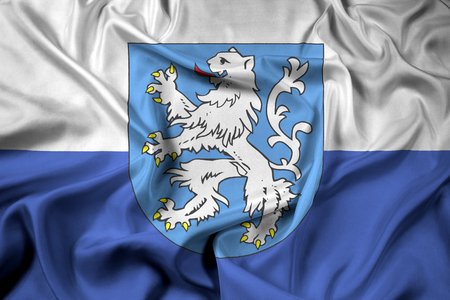 Waving Flag of Mlada Boleslav with Coat of Arms, Czechia
