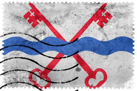 Flag of Leiderdorp, Netherlands, old postage stamp
