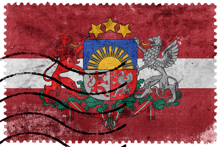 Flag of Latvia with Coat of Arms, old postage stamp