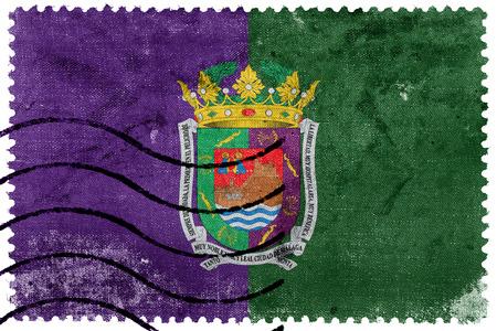 Flag of Malaga, Spain, old postage stamp