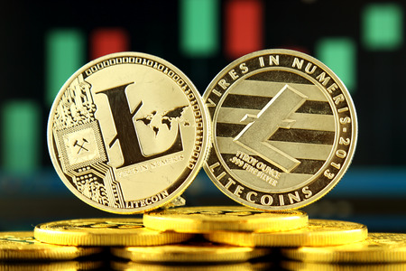 Photo pour Physical version of Litecoin, new virtual money. Conceptual image for worldwide cryptocurrency and digital payment system called the first decentralized digital currency. - image libre de droit