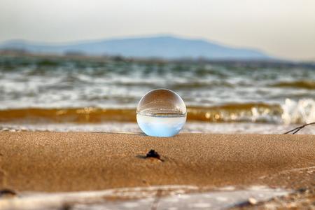 Photo pour Mietkow Lake, Poland. Wild, untouched nature. View through a glass, crystal ball for refraction photography. - image libre de droit