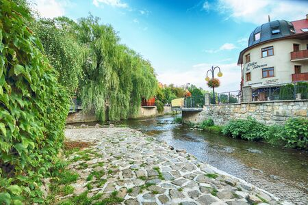 POLANICA ZDROJ, POLAND - AUGUST 26, 2019: Spa town Polanica Zdroj, Poland. The resort has the characteristics of a piedmont spa as it is situated in the valley of the River Bystrzyca Dusznicka.