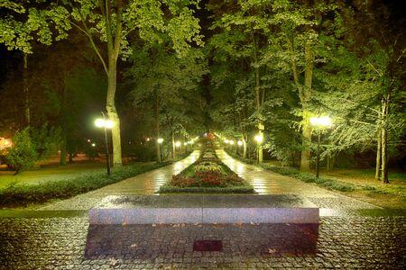 POLANICA ZDROJ, POLAND - AUGUST 26, 2019: The spa park in the center of Polanica Zdroj, Lower Silesia, south-western Poland. Night view.