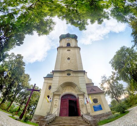 POLANICA ZDROJ, POLAND - AUGUST 26, 2019: Polanica Zdroj is a famous spa town in Klodzko County, Lower Silesian Voivodeship, south-western Poland. Church of Assumption of Blessed Virgin Mary.