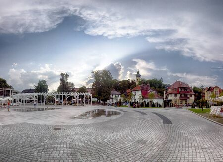 POLANICA ZDROJ, POLAND - AUGUST 26, 2019: Polanica Zdroj is a spa town in southern Poland with modern equipped medical facilities and a developed residential infrastructure for patients and tourists