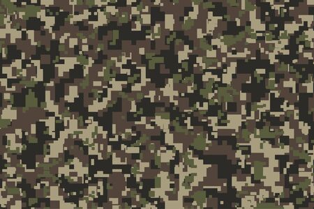 Illustration pour Brown, green and black Pixel Camouflage. Khaki Digital Camo background, military pattern, army and sport clothing, urban fashion. Vector Format. 2:3 aspect ratio. - image libre de droit