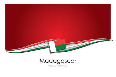 Photo pour Madagascar Flag with colored hand drawn lines in Vector Format - image libre de droit