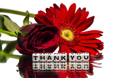 Thank you message with flowers.