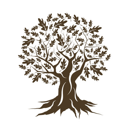 Illustration pour Beautiful brown oak tree silhouette isolated on white background. - image libre de droit