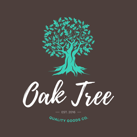 Illustration pour Oak tree handmade shabby logo design concept on brown background. Web graphics modern vector sign. Vintage quality goods co. illustration. - image libre de droit