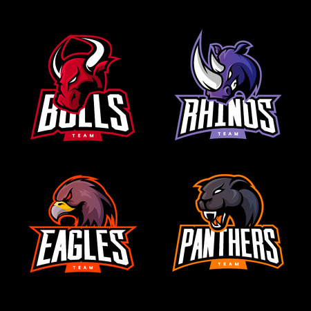 Ilustración de Furious rhino, bull, eagle and panther sport vector logo concept set isolated on dark background. Web infographic professional team pictogram. Premium quality wild animal and bird t-shirt tee print illustration. - Imagen libre de derechos
