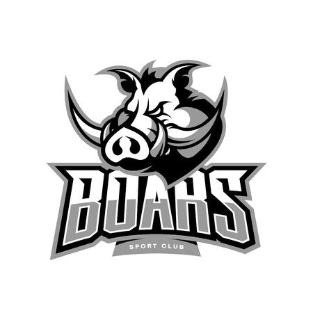 Illustration pour Furious boar sport club vector logo concept isolated on white background. - image libre de droit