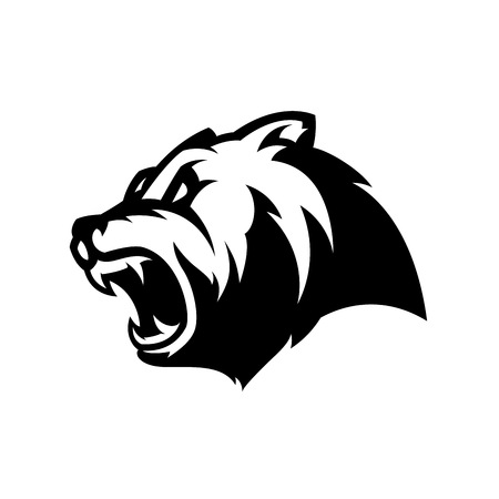 Illustration pour Furious bear head sport mono vector logo concept isolated on white background. Modern predator professional team badge design. - image libre de droit