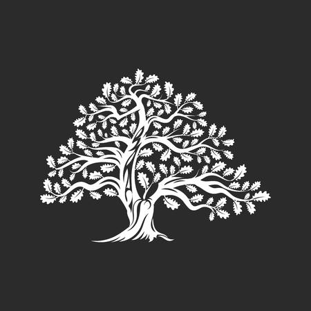 Illustration pour Huge and sacred oak tree silhouette logo badge isolated on dark background. - image libre de droit