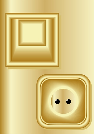 Switches and sockets in the classical style, a yellow background