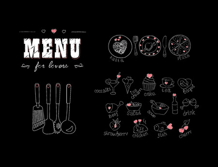 Illustration pour Menu for lovers. Foods with hearts. Happy Valentines day. Doodle Decor elements. Hand drawn. Chalkboard. Vector illustration - image libre de droit