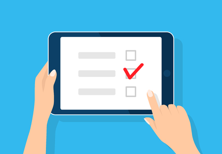 Illustration pour Online survey, checklist. Hand holds tablet and finger touch screen. Feedback business concept. Cartoon flat vector illustration isolated on blue. Minimalistic design for web site, mobile app - image libre de droit