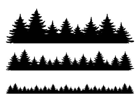 Illustration pour Forest vector shape set. Pine tree landscape collection, panorama. Hand drawn stylized black illustrations isolated on white background. Element for design christmas banner, poster - image libre de droit