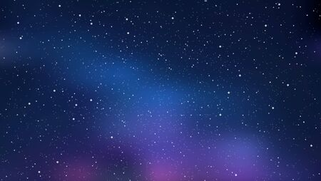Illustration pour Night starry sky, blue shining space. Abstract background with stars, cosmos. Vector illustration for banner, brochure, web design. - image libre de droit