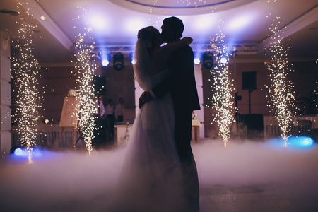 brides wedding party in the elegant restaurant with a wonderful light and atmosphere
