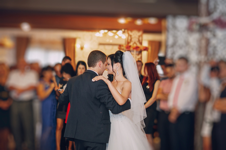 Photo pour a wonderful pair of dancing at your wedding in a restaurant - image libre de droit