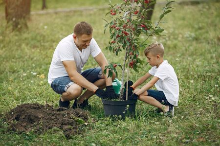 Photo for Father with little son are planting a tree on a yard - Royalty Free Image