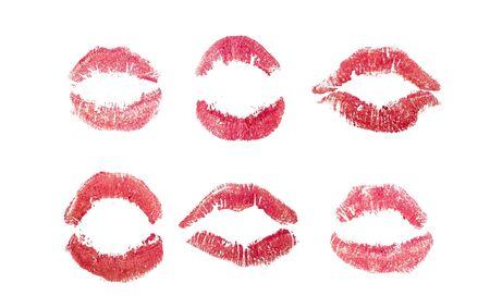 Photo for Lipstick kisses set, Red love kiss icons. Woman mouth isolated on white paper. Pink Signet mark. Sexy glossy lip makeup for print. Female symbol collection. Romantic sign for letter background. - Royalty Free Image