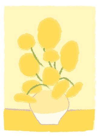 Illustration pour Sunflowers Van Gogh imitation like child s drawing in cartoon style. Impressionism painting art. Yellow flowers in vase. Bouquet Greeting card decoration. Simple vector stylized design isolated. - image libre de droit