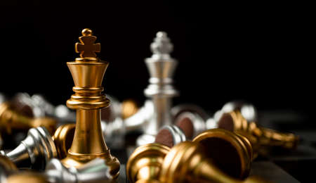 Photo pour Golden and Silver King chess is last standing in the chess board, Concept of successful business leadership, Confrontation and loss - image libre de droit