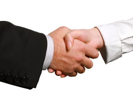 Perfect business handshake, isolated on white, blurred, space for copyの写真素材