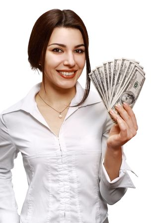 Woman holding out money. Focus on face (money out of focus).