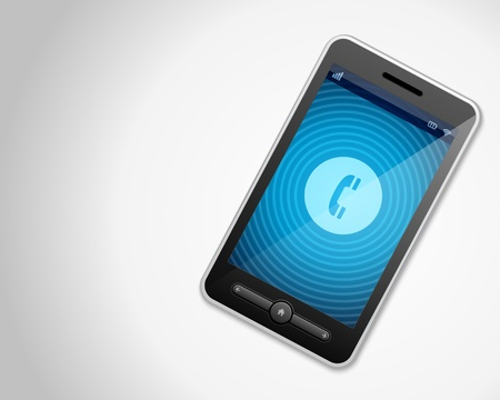 Mobile phone and incoming call icon vector backgroud