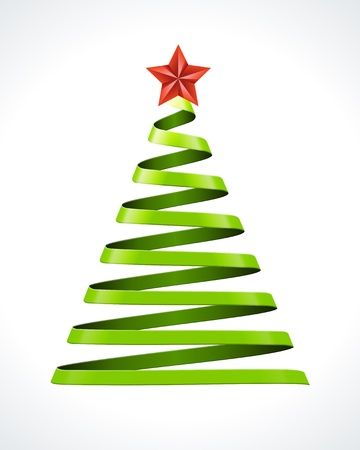 Christmas tree from ribbon vector design element