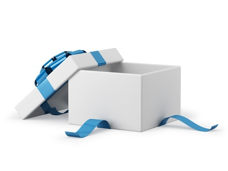 Gift box open with blue ribbon bow background