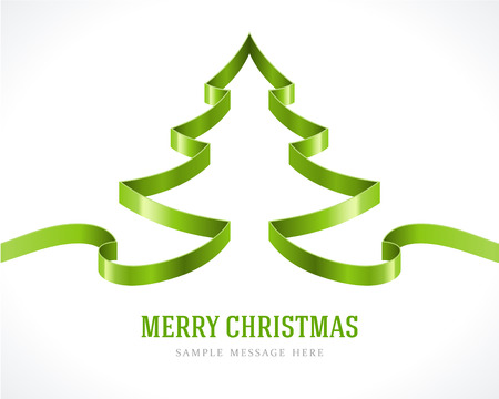 Christmas green tree from ribbon background  Vector illustration Eps 10  のイラスト素材