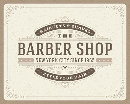 Barber shop vintage retro typographic design template