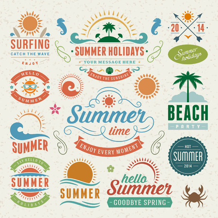 Summer design elements and typography design  Retro and vintage templates  Flourishes calligraphic ornaments, labels, badges