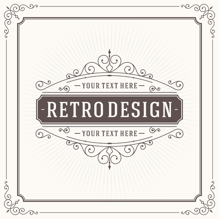 Vintage design template. Retro greeting card flourishes, calligraphic and typographic design elements. Template for design invitations, posters and other design.のイラスト素材