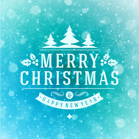 Christmas Light and Snowflakes Background Retro Typography. Merry Christmas holidays wish greeting card design and vintage ornament decoration. Happy new year message. Vector illustration Eps 10.