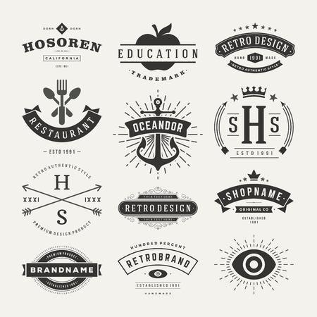 Photo for Retro Vintage Insignias or icons set. Vector design elements, business signs, icons, identity, labels, badges and objects. - Royalty Free Image