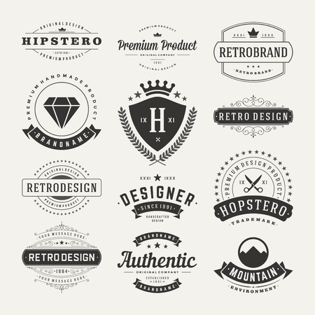 Retro Vintage Insignias or icons set. Vector design elements, business signs, icons, identity, labels, badges and objects.